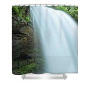 Upper Cullasaja Dry Falls In North Carolina Panorama Shower Curtain by Ranjay Mitra