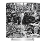 Upper Falls In Snow's Cover Shower Curtain