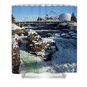 Upper Falls Winter - Spokane Shower Curtain