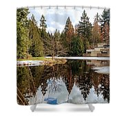 Upper Pond Reflections Shower Curtain