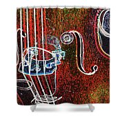 Upright Bass Close Up Shower Curtain