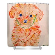 Upright Puppy Shower Curtain