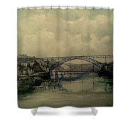 Upstream -bridge D.luis I-oporto Shower Curtain