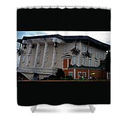 Upside Down Building Shower Curtain