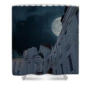 Upside Down White House At Night Shower Curtain