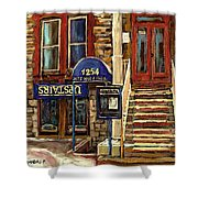 Upstairs Jazz Bar And Grill Montreal Shower Curtain by Carole Spandau