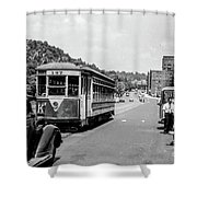 Uptown Trolley Near 193rd Street Shower Curtain