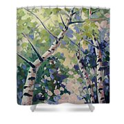 Upward Swirl Shower Curtain
