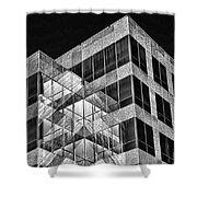 Urban Abstract - Mirrored High-rise Building In Black And White Shower Curtain