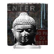 Urban Buddha 4- Art By Linda Woods Shower Curtain