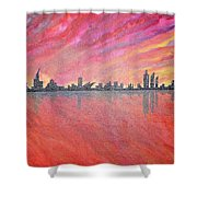 Urban Cityscapes In Twilight Shower Curtain