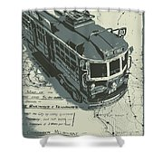 Urban Trams And Old Maps Shower Curtain