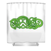 Urnes Snake Extended Stomach Retro Shower Curtain