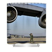 U.s. Air Force Crew Chief Performs Shower Curtain
