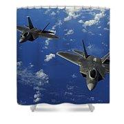 U.s. Air Force F-22 Raptors In Flight Shower Curtain