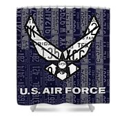 Us Air Force Logo Recycled Vintage License Plate Art Shower Curtain
