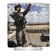 U.s. Air Force Member Calls For Air Shower Curtain by Stocktrek Images