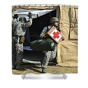 U.s. Air Force Soldier Exits A Medical Shower Curtain