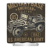 Us American Amry Jeep Shower Curtain