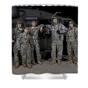 U.s. Army Crew Chiefs Pose In Front Shower Curtain