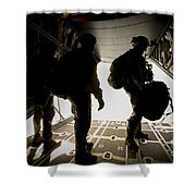 U.s. Army Green Berets Wait To Jump Shower Curtain