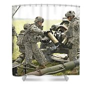U.s. Army Soldier Throws A Spent 105mm Shower Curtain
