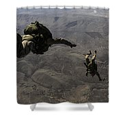 U.s. Army Soldiers Conduct A Halo Jump Shower Curtain