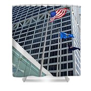 Us Bank With Flags Shower Curtain