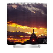 U.s. Capitol Dome At Sunset Shower Curtain