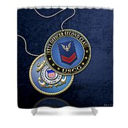 U.s. Coast Guard Petty Officer Second Class - Uscg Po2 Rank Insignia Over Blue Velvet Shower Curtain