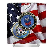 U. S. Coast Guard Petty Officer Second Class - Uscg Po2 Rank Insignia Over Us Flag Shower Curtain