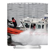 U.s. Coast Guardsmen Aboard A Security Shower Curtain by Stocktrek Images