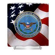 U. S. Department Of Defense - D O D Emblem Over U. S. Flag Shower Curtain