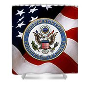 U. S. Department Of State - Dos Emblem Over U.s. Flag Shower Curtain