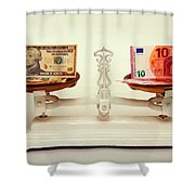 U.s. Dollar And Euro Banknotes On A Pair Of Scales In Vienna Shower Curtain