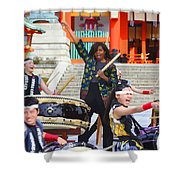 U.s. First Lady Michelle Obama  Plays The Taiko Drum  Shower Curtain