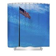 Us Flag At Liberty Island Shower Curtain