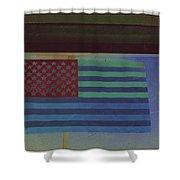 Us Flag On Wall Casa Grande Arizona 2004-2008 Shower Curtain