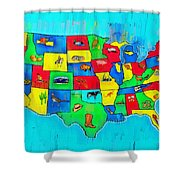 Us Map With Theme  - Free Style -  - Pa Shower Curtain