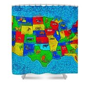 Us Map With Theme  - Special Finishing -  - Pa Shower Curtain