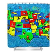 Us Map With Theme  - Van Gogh Style -  - Pa Shower Curtain