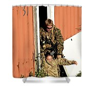 U.s. Marine Drags An Injured Patient Shower Curtain
