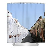 U.s. Marines And Sailors Stand Shower Curtain