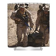 U.s. Marines Prepare To Board A Uh-60 Shower Curtain