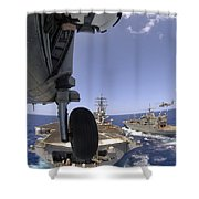 U.s. Navy Petty Officer Leans Shower Curtain