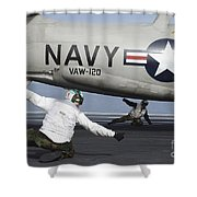 U.s. Navy Sailors Give The Thumbs Shower Curtain by Stocktrek Images