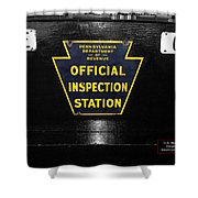 Us Route 66 Smaterjax Dwight Il Official Inspection Signage Shower Curtain