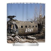 U.s. Soldier Inspects The Wreckage Shower Curtain