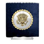 Vice Presidential Service Badge On Blue Velvet Shower Curtain