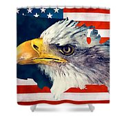 Usa Flag Eagle Shower Curtain